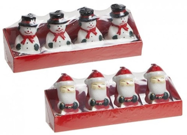 Christmas Set of 4 Tealight Assorted Design Candle, Stocking Filler/Gift
