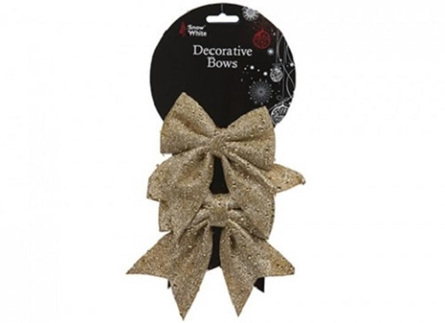 Christmas Set of 2 Gold Christmas Bows with Glitter, Tree Decoration