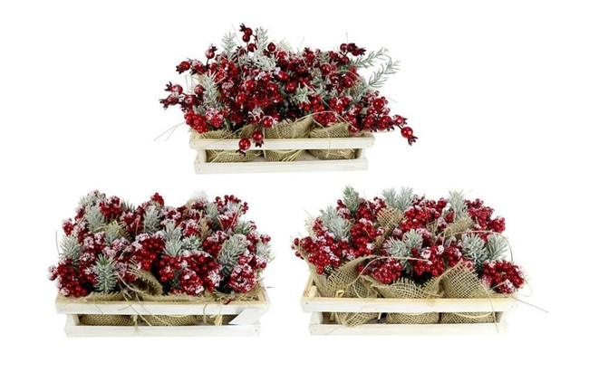 SNOWY ARTIFICIAL BERRY PLANTS PINE TIPS, Christmas Decoration