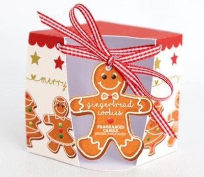 8x7CM GINGERBREAD WAX FILLED CANDLE, Christmas Stocking Filler/Gift