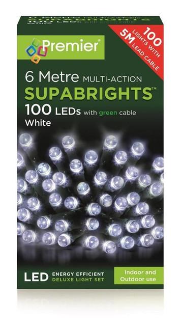 100 White Multi Action LED lights, Christmas/Tree Decoration