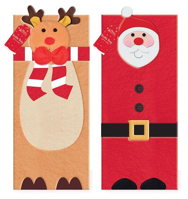 Cute Christmas Santa or Reindeer Novelty Bottle Bag With Bottle Topper