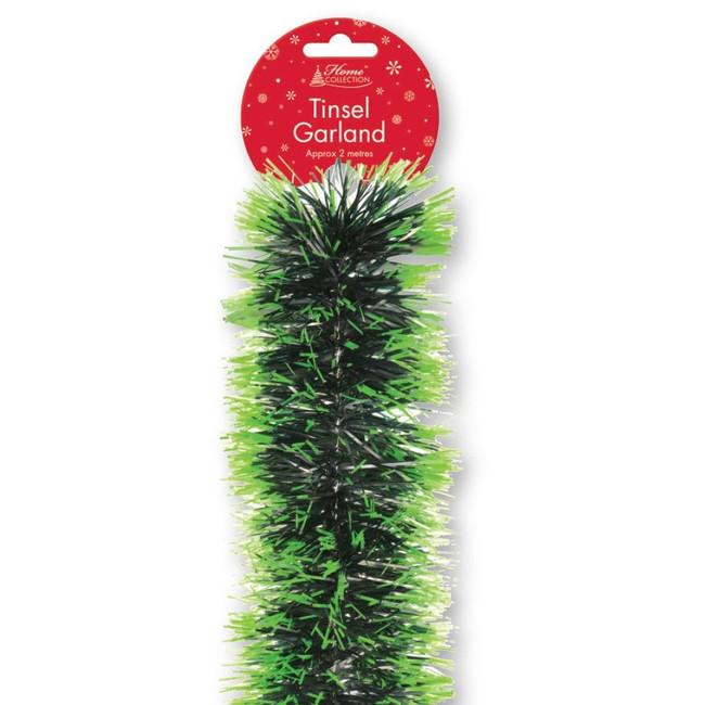 Christmas 2M Luxury Green Tip Tinsel