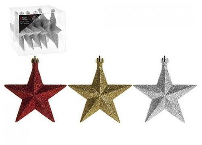 SET OF 6 10cm STAR DECORATIONS, Tree Decoration