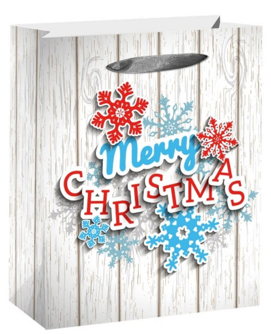 Christmas Large 'Merry Christmas' Gift Bag With Glitter 32 x 26 x 11cm