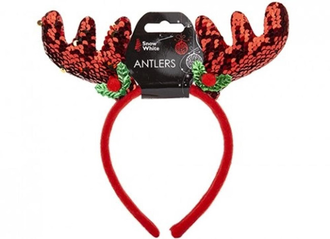 Christmas Red Sequin Antlers, Stocking Filler/Gift