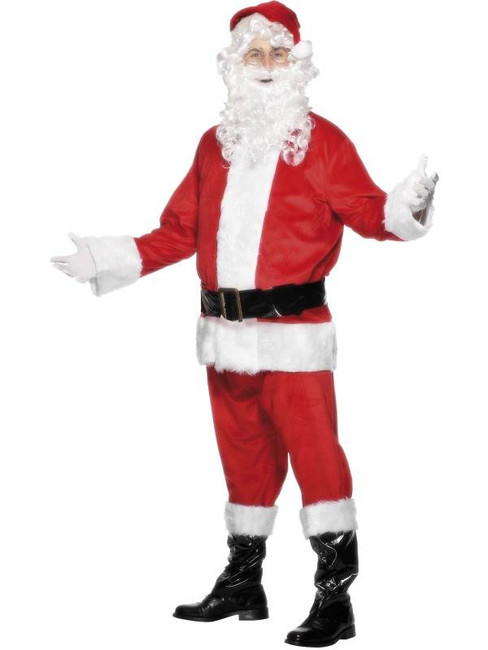"Santa Costume, Velour, Chest 42""-44"", Leg Inseam 33"""