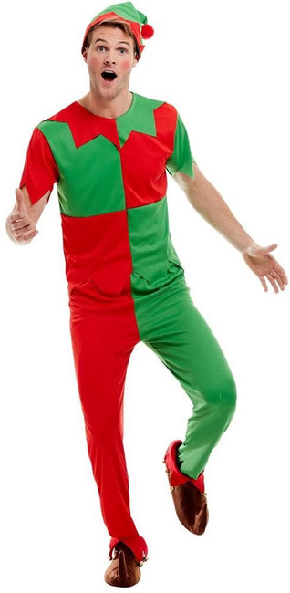 Elf Costume, Mens Fancy Dress, Large