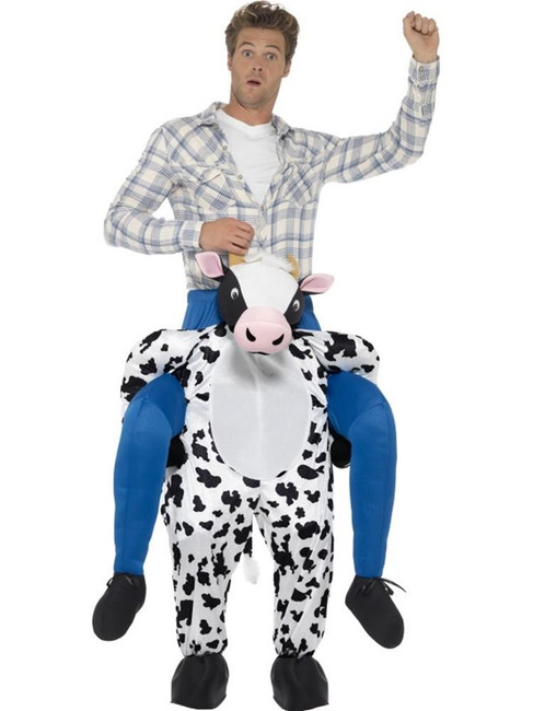 Black Piggyback Cow Costume, Funnyside Fancy Dress. One Size