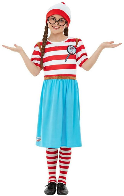 Where's Wally? Wenda Deluxe Costume, Girls Fancy Dress, Medium Age 7-9