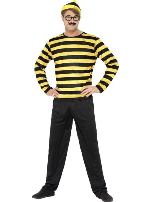 Where's Wally Odlaw Costume, Medium, Adult Fancy Dress Costumes, Mens