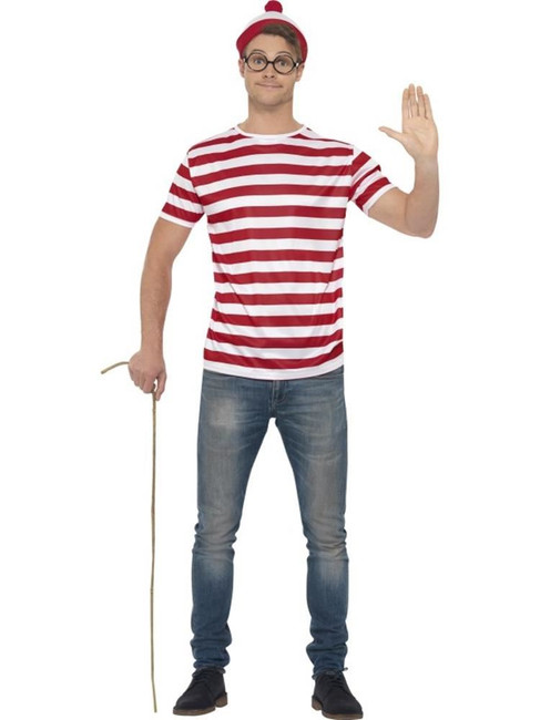 Where's Wally Kit, Large, Adult Fancy Dress Costumes, Mens