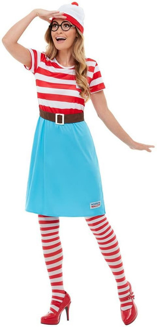 Where's Wally? Wenda Costume, Womens Fancy Dress/Book Week, UK Size 16-18