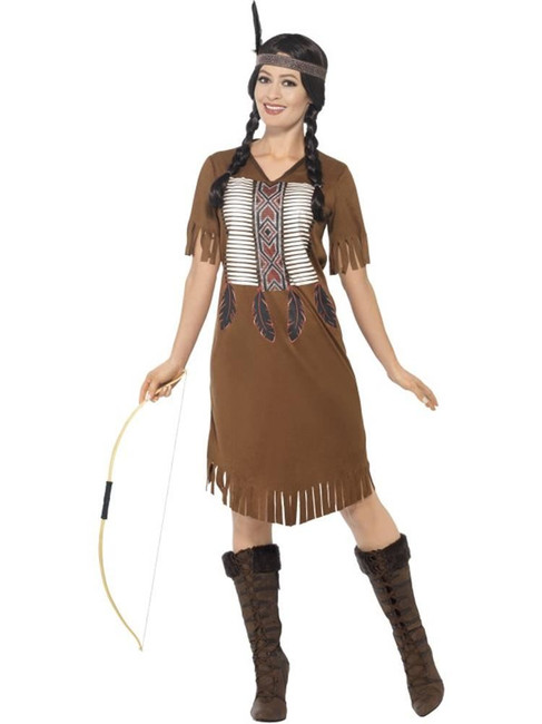 Indian Warrior Princess Costume, Large, Fancy Dress, UK 16-18