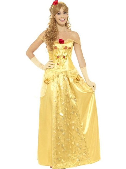 Golden Princess Costume, Belle from Beauty and the Beast Fancy Dress, UK Size 12-14