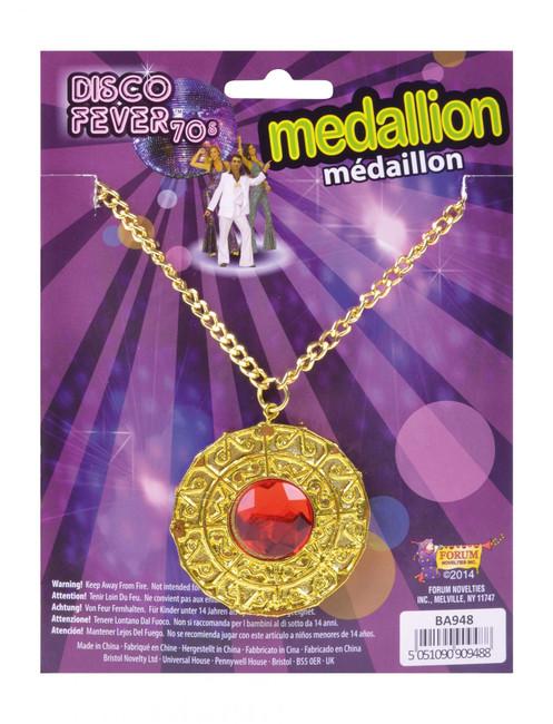 Elvis/Pimp/Gangster/Rapper Fake Gold Medallion Necklace, Bling Fancy Dress