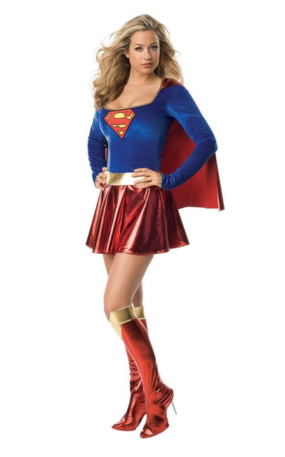 Supergirl (adult) one piece Costume, Fancy Dress, Small, US Size