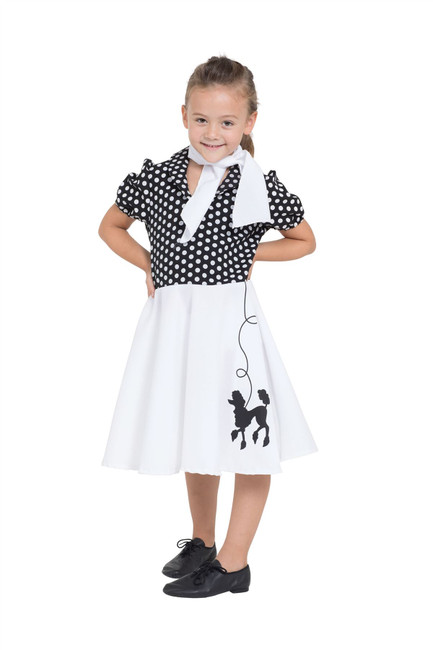 Poodle Dress Child Blk/Wht Spot 116cm