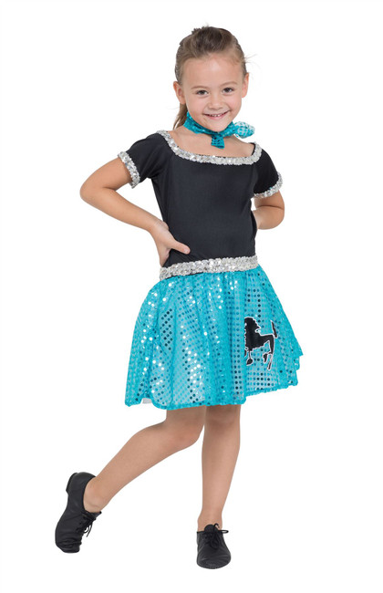 Rock n Roll Dress Sqn Turquoise 116cm