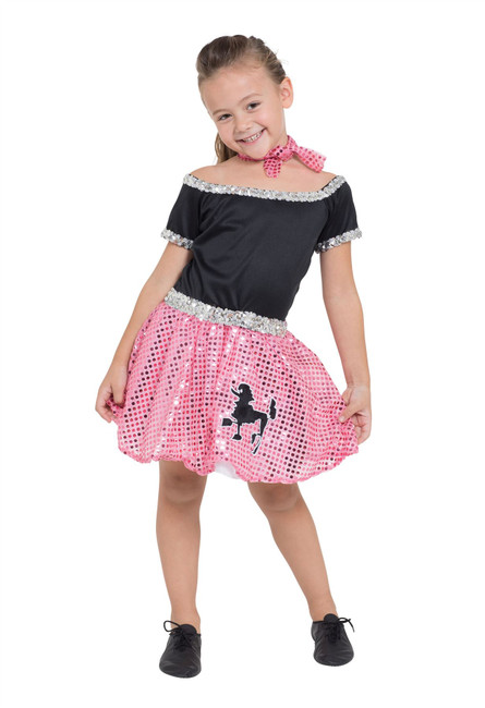 Rock n Roll Dress Sequin Pink 116cm