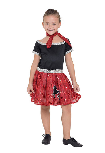 Rock N Roll Dress Sequin Red 128cm
