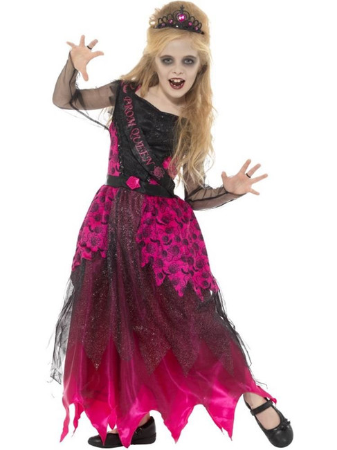 Deluxe Gothic Prom Queen Costume,Halloween  Fancy Dress,Large Age 10-12