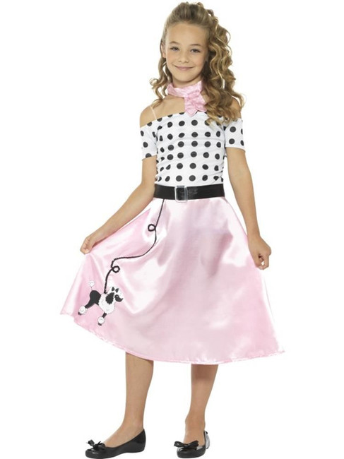 Pink 50s Poodle Girl Costume, Girls Fancy Dress. Medium Age 7-9