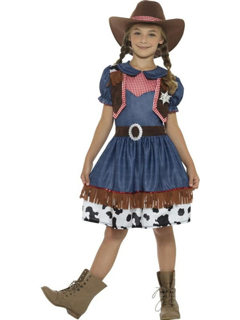Blue Texan Cowgirl Costume, Girls Fancy Dress. Small Age 4-6