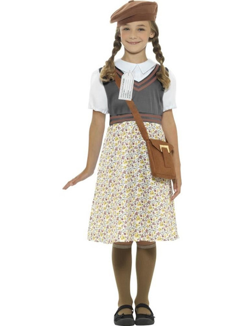 Grey Evacuee School Girl Costume, Girls Fancy Dress. Medium Age 7-9