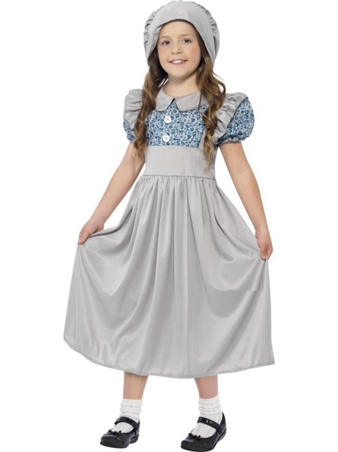 Victorian School Girl Costume, Medium Age 7-9, Historical Fancy Dress, Girls