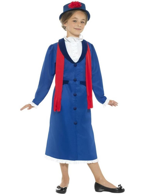 Blue Victorian Nanny Costume, Girls Fancy Dress. Medium Age 7-9