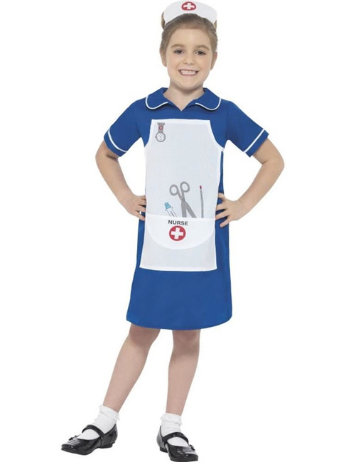 Blue Nurse Costume, Girls Fancy Dress. Small Age 4-6