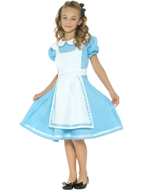 Blue Wonderland Princess Costume, Girls Fancy Dress. Medium Age 7-9