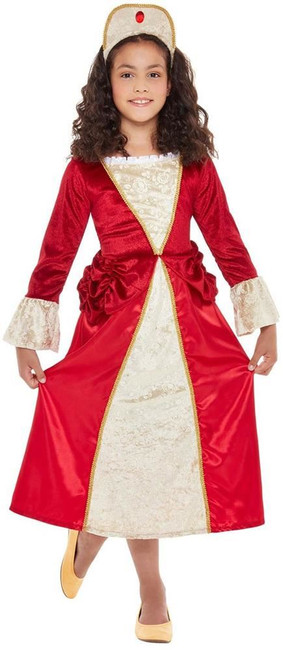 Tudor Princess Costume, Girls Fancy Dress, Medium Age 7-9