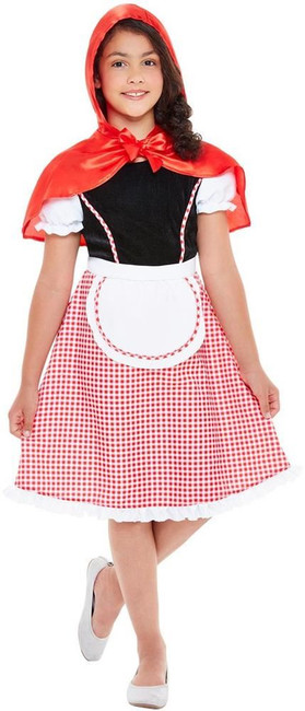 Deluxe Red Riding Hood Costume, Girls Fancy Dress, Medium Age 7-9