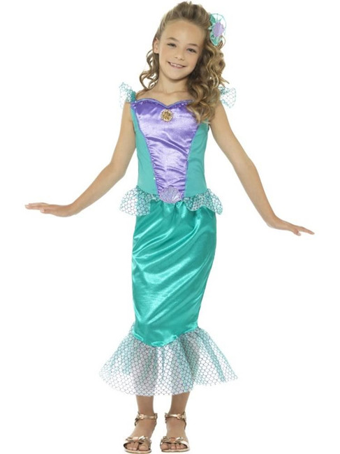 Green Deluxe Mermaid Costume, Girls Fancy Dress. Medium Age 7-9