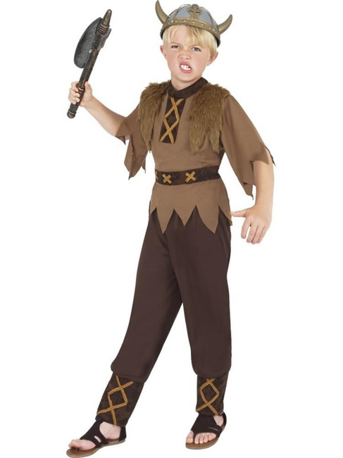 Brown Viking Costume, Boys Fancy Dress. Small Age 4-6