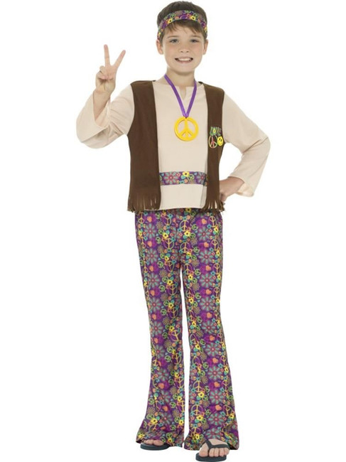 Hippie Boy Costume, Top,Attached Waistcoat,Boys Fancy Dress,Medium Age 7-9