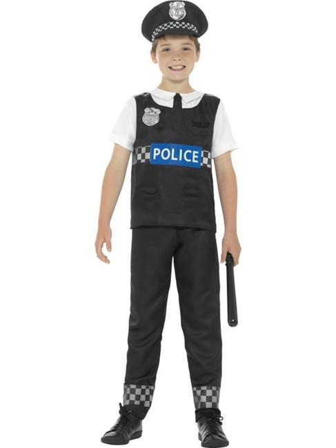 Black & White Cop Costume, Boys Fancy Dress. Large Age 10-12