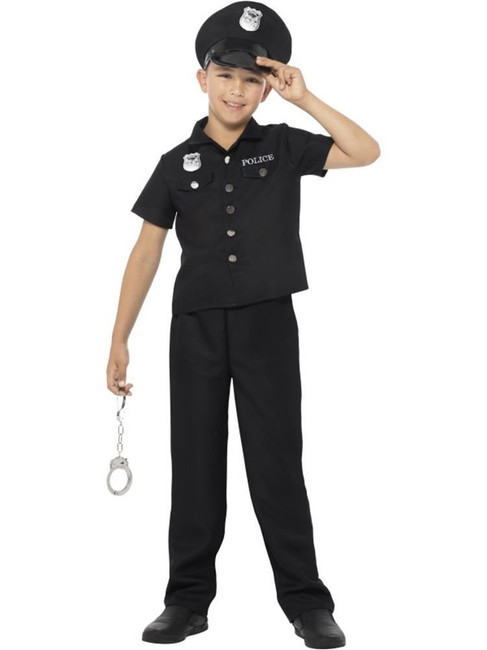 Black New York Cop Costume, Boys Fancy Dress. Large Age 10-12