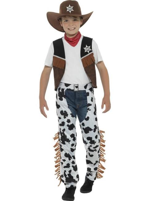 Brown Texan Cowboy Costume, Boys Fancy Dress. Large Age 10-12