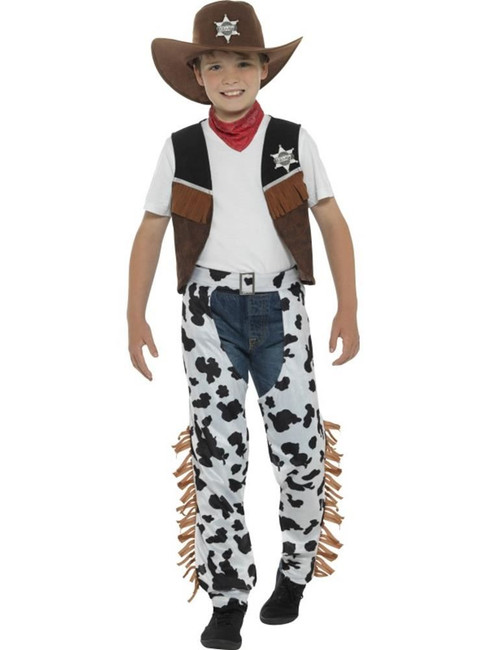Brown Texan Cowboy Costume, Boys Fancy Dress. Small Age 4-6
