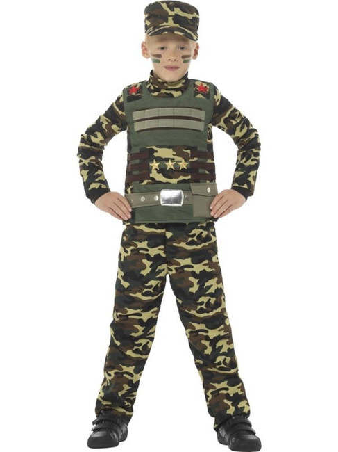Camouflage Military Boy Costume, Boys Fancy Dress. Small Age 4-6