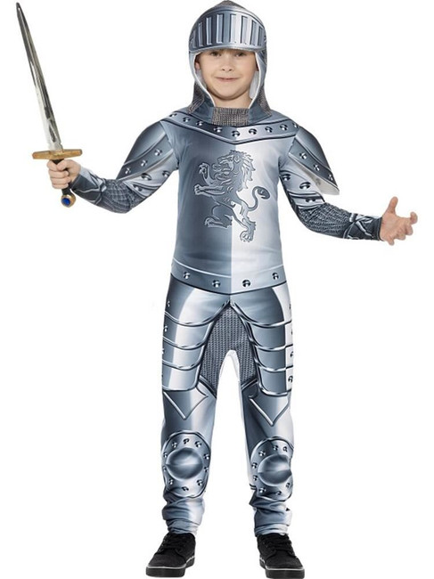 Deluxe Armoured Knight Costume, Large Age 10-12, Historical Fancy Dress Boys