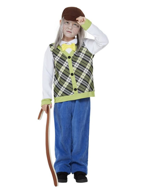 Old Man Costume, Green, Boys Fancy Dress Costume, Size Age 3-4