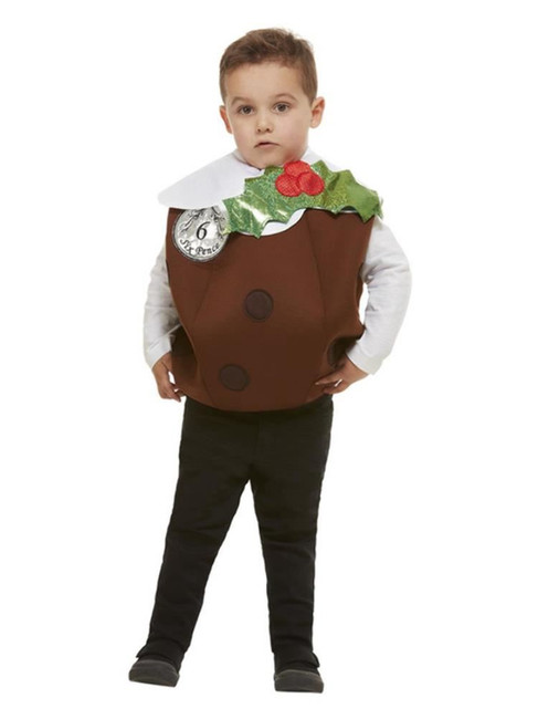 Christmas Pudding 3D Costume, BrownUnisex Fancy Dress Costume, Medium Large