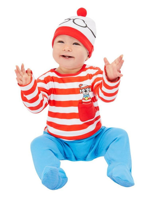 Where's Wally? Baby Costume, Red & White, Fancy Dress Costume, 0-6 Months