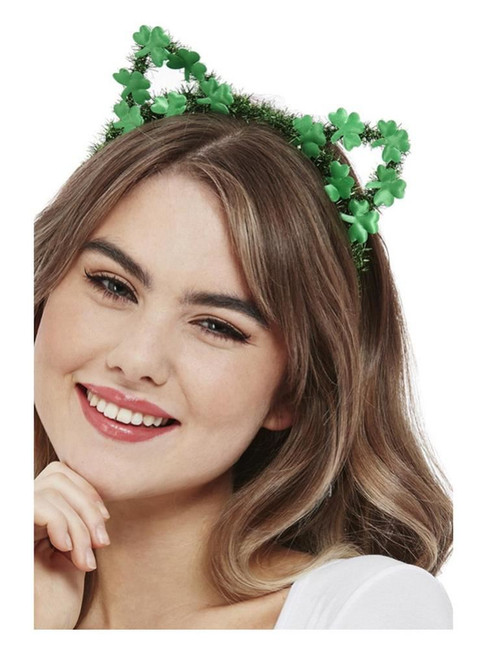 St Patricks, Paddy's Day Glitter Cat Headband,Irish/Ireland Fancy Dress