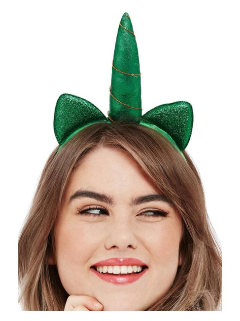 St Patricks, Paddy's Day Metallic Unicorn Headband,Irish/Ireland Fancy Dress