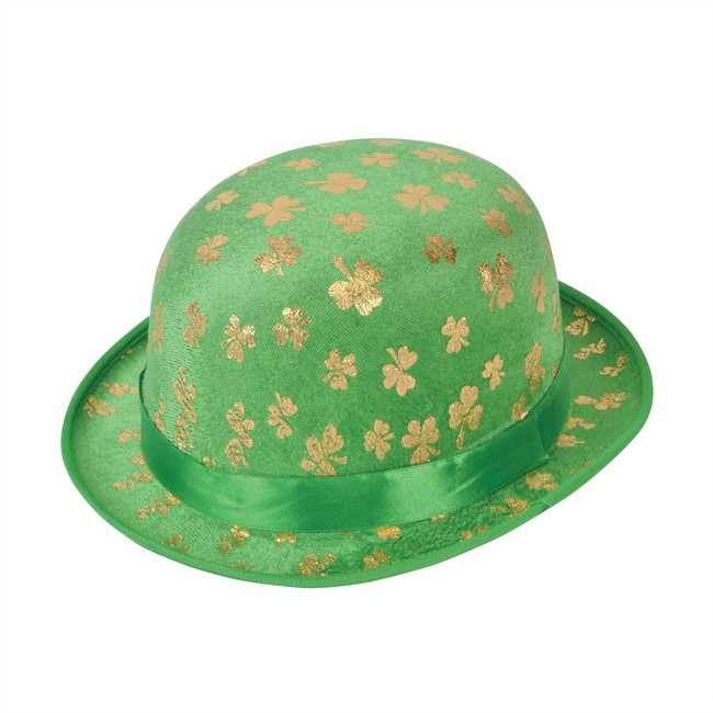 St Patricks Day Felt Bowler Hat, Green, Irish/Ireland Paddys Day Fancy Dress
